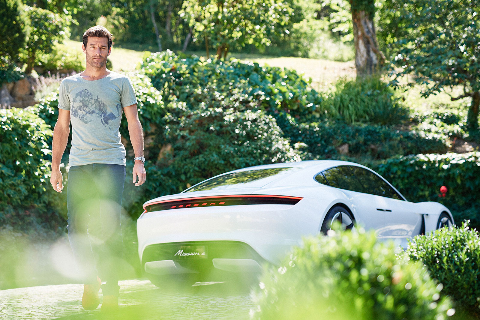 Formula 1 driver Mark Webber and the Porsche Mission E ...